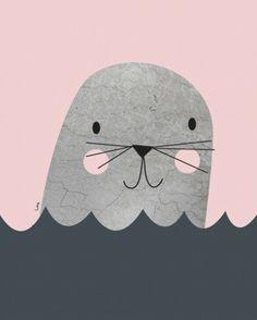 IsaForm foto poster little seal pink 30 x 40 cm | PSikhouvanjou