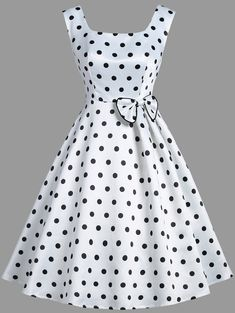 Vintage Clothes Vintage Polka Dot Bowknot Sleeveless Dress - Cheap Fashion online retailer providing customers trendy and stylish clothing including different categories such as dresses, tops, swimwear. Mode Outfits, Stylish Outfits, Dress Outfits, Fashion Outfits, Cheap Fashion, Stylish Dresses, Vintage Dresses Online, Vintage Outfits, Vintage Fashion