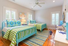 House of Turquoise Cindy Mihuc of GDC Home turquoise Jenny Lind beds Turquoise Bedroom Decor, Green Bedroom Design, Bedroom Green, Pretty Bedroom, Bedroom Colors, Turquoise Bedding, Green Bedding, Beach House Bedroom, Beach House Decor