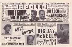 Here's an extraordinary Apollo Theatre rarity--a handbill from February, 1953 advertising shows by Billy Ward & The Dominos, The Orioles, Duke Ellington wit Apollo Theater, Duke Ellington, The Joe, Stage Show, Country Blue, Mabon, Star Cast, Vintage Rock, Recherche Google