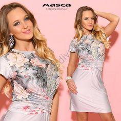 Masca Fashion mell alatt átlapolt, hátán megkötős virágmintás szürke rövid ujjú miniruha Formal Dresses, Fashion, Dresses For Formal, Moda, Formal Gowns, Fashion Styles, Formal Dress, Gowns, Fashion Illustrations