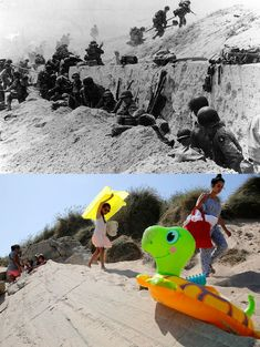 June marked a turning point in World War II as Allied troops stormed the beaches of Normandy, forcing the end of the German occupation of France. To mark this Friday's anniversary of D-Day, Reuters photographer Chris Helgren compiled a. D Day Photos, Then And Now Photos, Ww2 Photos, World History, World War Ii, France, 4th Infantry Division, Us Army Rangers, Us Army Soldier