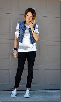 Denim vest over striped tshirt