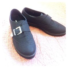 "Very chic oxford style loafers Black shoe with 1""-1/2"" platform heel. Silver buckle. Super comfy. I tried to wear them but my foot is to skinny. Adorable w skirts, skinnies or capris....use your  imagination. Box included. Worn once Misbehave Shoes Flats & Loafers"