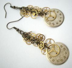I normally hate the gears for gears sake, but I'm totally digging the deconstructed watch business. Steam Punk Jewelry, Gothic Jewelry, Metal Jewelry, Custom Jewelry, Pendant Jewelry, Jewelry Art, Vintage Jewelry, Bullet Jewelry, Jewlery