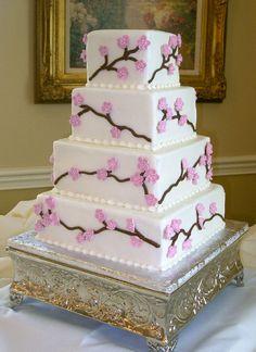 Cherry blossom buttercream iced square cake