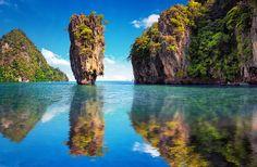 Beautiful nature of Thailand. James Bond island reflects in water near Phuket Phuket Thailand, Thailand Travel, Asia Travel, Visit Thailand, Travel News, Bangkok, Smart Tv, Parc National, National Parks