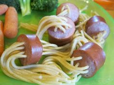 Hot dog spaghetti strings - this reminds me of popping zits.  sorry, but it does.
