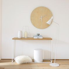 Solid oak console table in white W 130cm