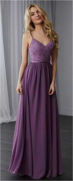 Simple Spaghetti Straps A-Line Purple Chiffon Long Prom Dress b731a8125e7f