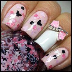 Pink white bow nail design