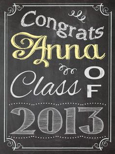 class of 2016 chalkboard sign for senior by muchtoographic on etsy