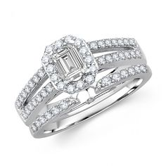 Princess Cut Diamond Octagonal Frame Bridal Set - Gorgeous ring!! - Our Price: $2,929.99 - http://www.mybridalring.com/Wedding-Rings/princess-cut-diamond-bridal-wedding-set/
