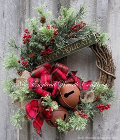 Christmas Wreath, Holiday Wreath, Sleigh Bells, Country Christmas, Woodland Holiday, Jingle Bell Door Wreath