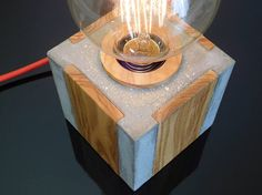 Concrete and wood edison table lamp nightstand dimmable lamp concrete decor bedside beton lamp concrete gift for men Geometric concrete and wood table lamp cement edison lamp Concrete Crafts, Concrete Wood, Concrete Projects, Concrete Design, Table Lamp Wood, Wood Lamps, Edison Lampe, Wood Working For Beginners, Woodworking Projects