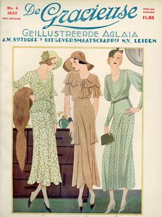 1930s fashion plate- De Gracieuse (Dutch magazine) cover, 1932