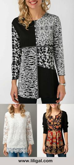 refashion inspiration... printed tops, printed blouses, print tops, print blouses for women, print long sleeve tops