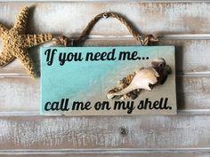 Beach signs beach decor shells shell art no cell by SummerSunSign