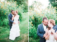 Sunflower Field Bride and Groom Portraits // Lancaster Pennsylvania Country Barn Wedding // alison dunn photography