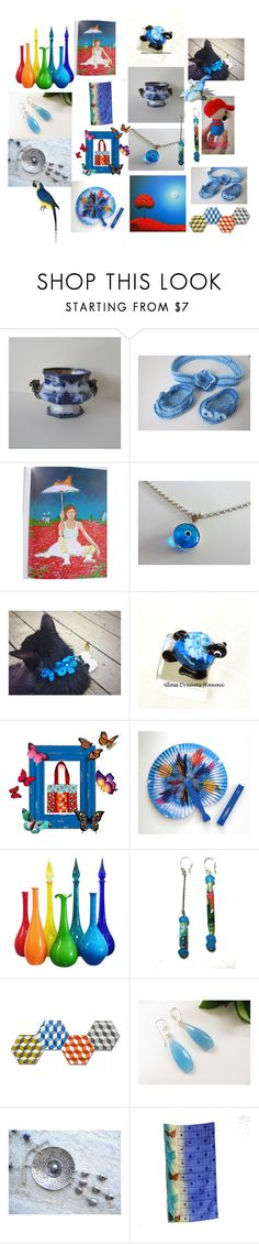 """""""Blue Red Rays"""" by anna-recycle ❤ liked on Polyvore featuring Nintendo, MATÌ, modern, rustic and vintage"""