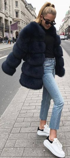 #spring #outfits black top, faux fur, crop jeans, sneakers