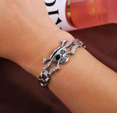One Piece Luffy Skull Silver Metal Anime Bracelet - OtakuForest.com