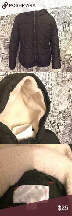 Ruffle-bottom puffy jacket w/lined hood Super cute and comfy puffy jacket with a ruffle bottom detail and lined hood! Xhilaration Jackets & Coats Puffers