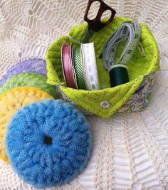 Your place to buy and sell all things handmade Crochet Scrubbies, Fabric Boxes, Coordinating Colors, Floral Fabric, Yellow, Blue, Gifts For Her, Dish, Embroidery