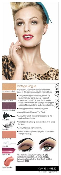 Mary Kay An understated face and glamorous lip make this Vintage Vogue look perfect for Fall. As a Mary Kay beauty consultant I can help you, please let me know what you would like or need. www.marykay.com/KathleenJohnson www.facebook.com/KathysDaySpa