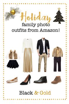 Holiday Family photo outfits from Amazon, Christmas family picture outfits, gold christmas outfits, what to wear for christmas family pictures, women's gold skirt, men's black blazer, black and gold christmas, black and gold outfits, what to wear for christmas mini sessions, girls fur vest, christmas mini session ideas