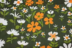 Amazing vintage retro Fabric: dark green base with floral