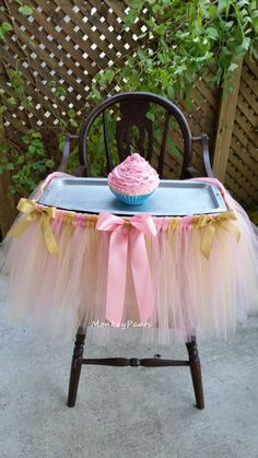 Hey, I found this really awesome Etsy listing at https://www.etsy.com/listing/254994236/high-chair-tutu-skirt-pink-and-gold-cake