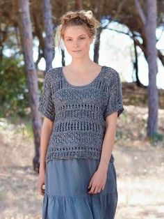 Cascade - Knit this womens openwork and lace top from the Silkystones Collection, designed by Marie Wallin using the beautiful y...