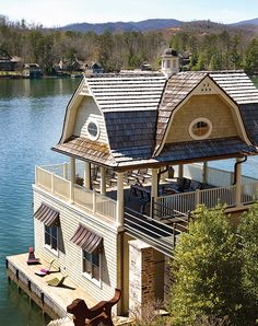 Rather have a house with a big porch and mountain views but this lake house dock is amazing