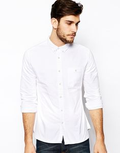 Image 1 ofASOS Oxford Shirt In White With Long Sleeves