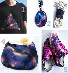 Galaxy ideas for shoes, purses, t-shirts, and necklaces.