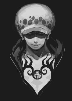 Trafalgar D. Water Law One piece black and white