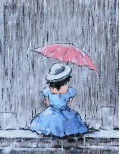 Auto Folding Solution For Rain Durable Original Watercolor Artwork Of It/'s Raining Cats Umbrella Have A Pretty