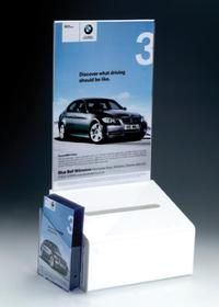 Acrylic Suggestion Box with an or header for added advertising or ballot instructions. Designed with an or leaflet dispenser. Standing Signage, Suggestion Box, Reception Areas, White Acrylics, Header, Creative, Prints, Pos, Essentials