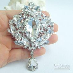 Wholesale Brooch Pin - Buy Bridal Drip Flower Brooch Pin W Clear Rhinestone Crystals EE04082C2,