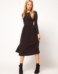 Need this in every color!!!    ASOS Midi Dress With Long Sleeve  $49.25  This midi dress by ASOS Collection has been crafted from a stretch cotton jersey. The details include: a round neckline, long sleeve styling, a high waist and a flared skirt with soft pleating and a midi-cut length. The dress has been cut with a regular fit.