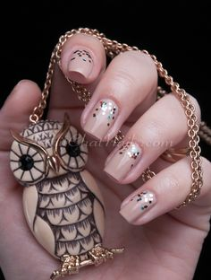 glitter nude nails #owl