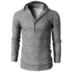 Mens Casual Slim Fit Hoodie Henley Neck T-Shirts With Button Pointed (KMOHOL021)