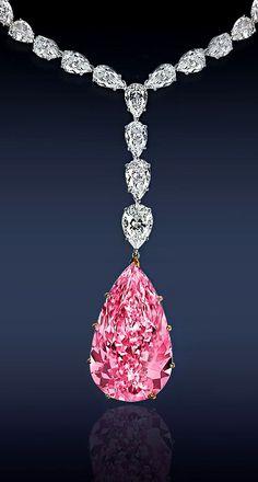 Jacob & Co Diamond Necklace with Fancy Light Pink Internally Flawless Pear Diamond.