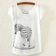 "Graphic Tee""Zebra"" New Graphic Tee ""Zebra"" New One Size Style: Loose Fit 25"" (Length) 38"" (Bust) Fabric: 35% Cotton, 65% Polyester Cute Tops Tees - Short Sleeve"
