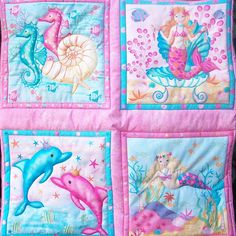 Mermaid  Dolphin Seahorse quilted wall hanging by lilacelephant