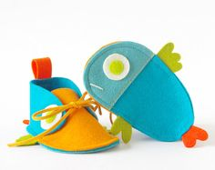 Guppies baby shoes turquoise & orange tropical by LaLaShoes, $44.00