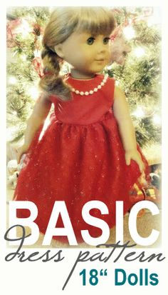 Free Basic Dress Pattern for American Girl and 18 Dolls - - Here is a free pattern for a very basic yet versatile dress to fit an American Girl or doll. This is a great beginner sewing pattern to learn with! American Girl Outfits, Ropa American Girl, American Girl Dress, American Doll Clothes, Sewing Doll Clothes, Girl Doll Clothes, Girl Dolls, Ag Dolls, Barbie Clothes