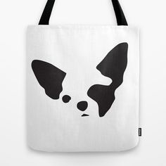 Chihuahua Dog Tote Bag, B&W Bold Graphic Art Tote, Unique Gift for Her, Reusable Shopping Bag, Women Girls Tote, Beach, School Book Tote Bag