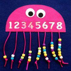 Kids Crafts, Daycare Crafts, Toddler Crafts, Toddler Activities, Preschool Activities, Numbers Preschool, Counting Activities, Learning Numbers, Crafts For Kindergarten